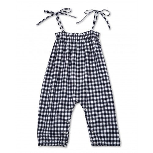 Walnut Baby Anook Woven Tie Jumpsuit Navy White Gingham ^+