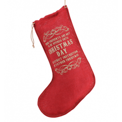 Christmas Stocking Red Jute Christmas Day