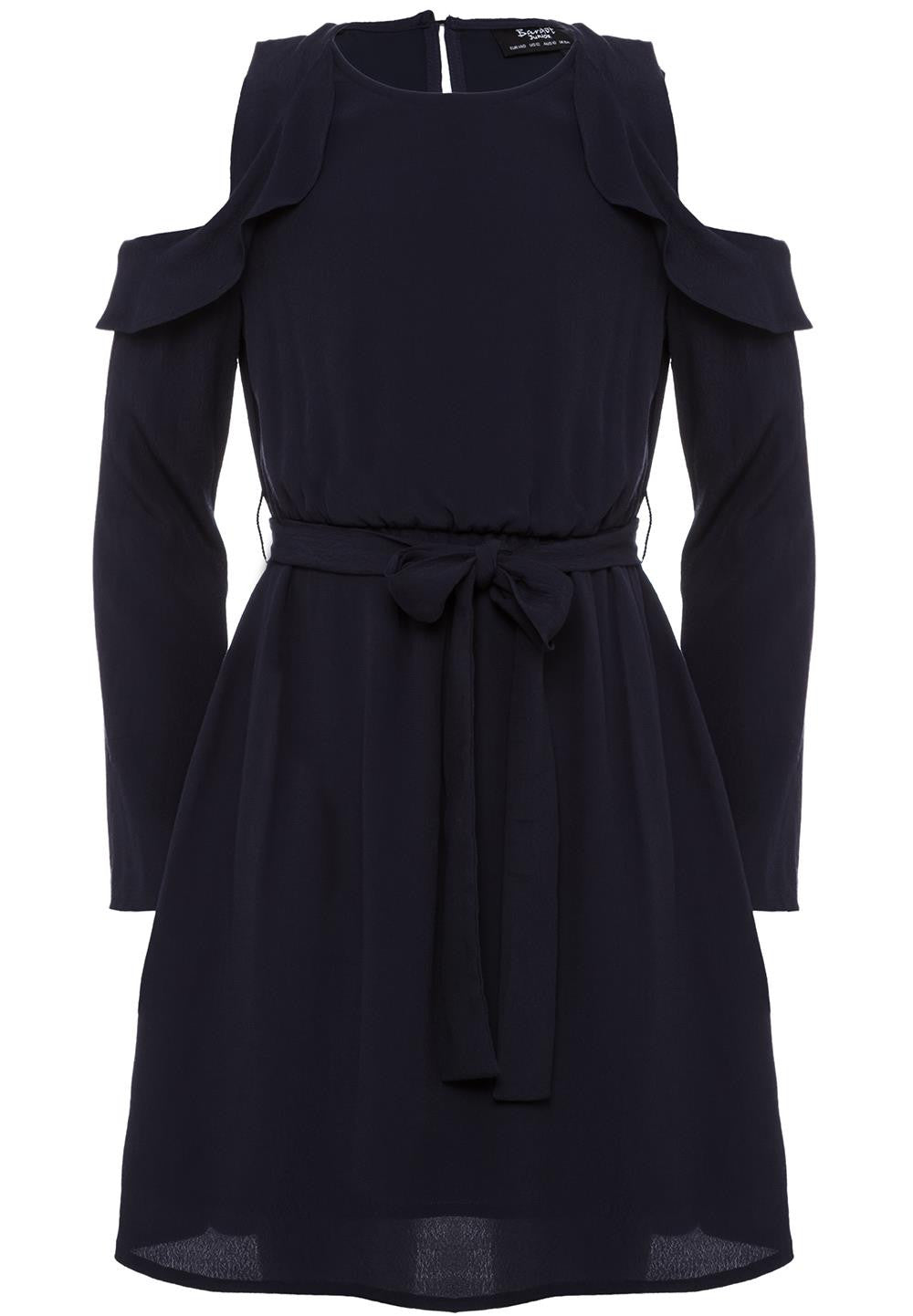 Bardot Junior Dress Frill Shoulder Navy *