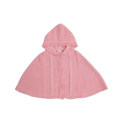 Korango Clouds Cable Knit Poncho Pink