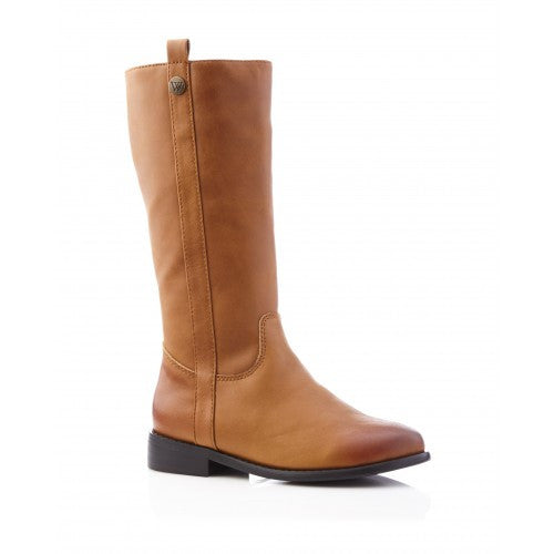 Walnut Lily Long Leather Boot Tan