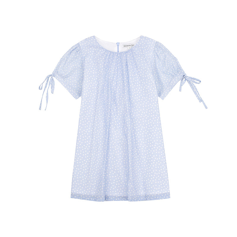 Minouche Minnie Dress Blue Spot Cotton Voile #