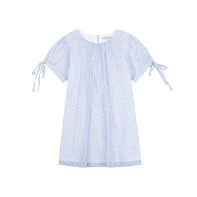 Minouche Minnie Dress Blue Spot Cotton Voile ^+