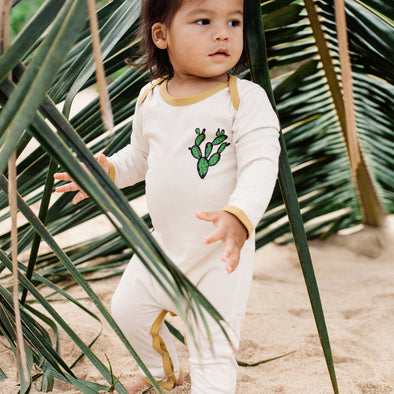 Island State Co Surf Safari Keep Rolling L/S Onesie Cream