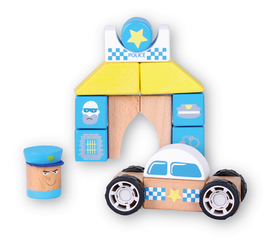 Discoveroo Snap Blocks Police Car & Station Set