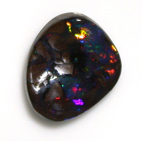 Bright red multi-coloured solid black boulder opal from quilpie