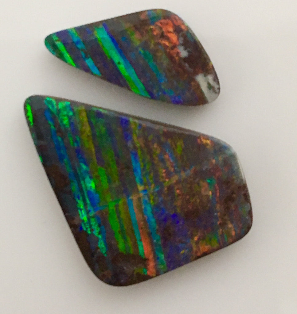 Pair of Red Multi Coloured solid boulder opal