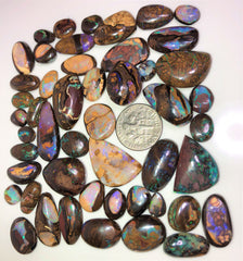 49 Pieces of Koroit matrix opal and crystal centres