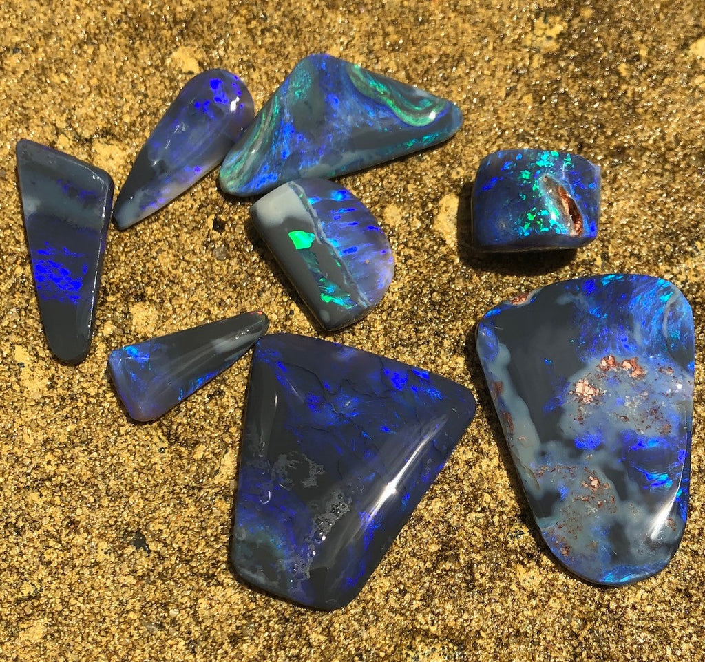 Black opal rubs from Lightning Ridge