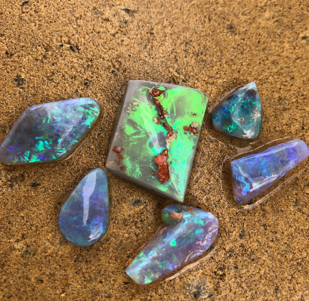 Opal rubs from Lightning Ridge