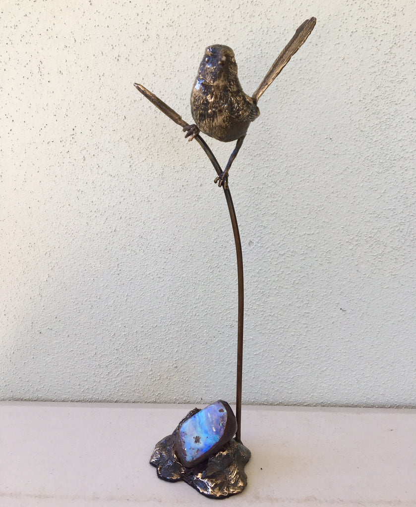 Superb Fairy Wren on Reed with Green Violet Boulder Opal