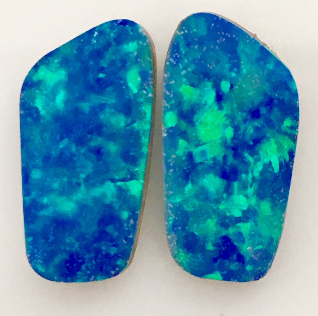 Pair of Green Blue Doublets. Beautiful stones