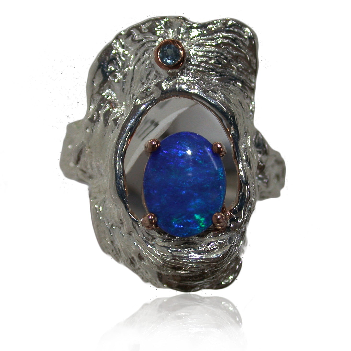 Blue Opal Sterling Silver Ring with Saphire