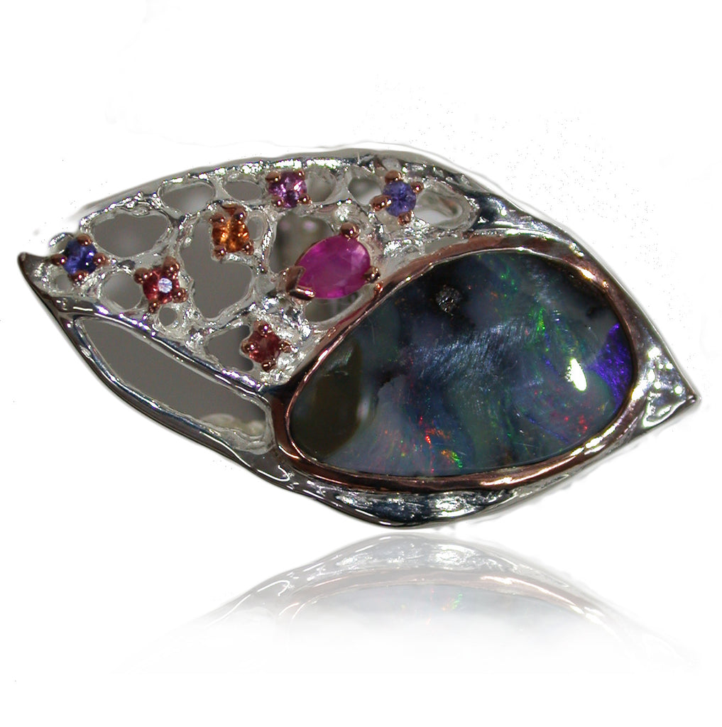 Multi Colour Opal Sterling Silver Ring with Gemstones