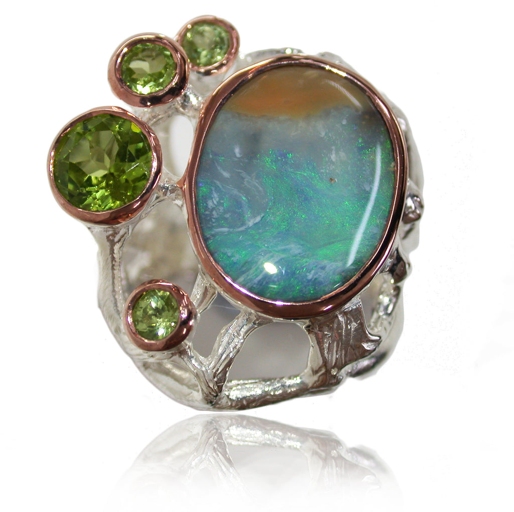 Green Opal and Peridot Sterling Silver Ring