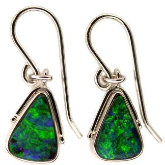 Bright Green 18k White Gold Boulder Earrings