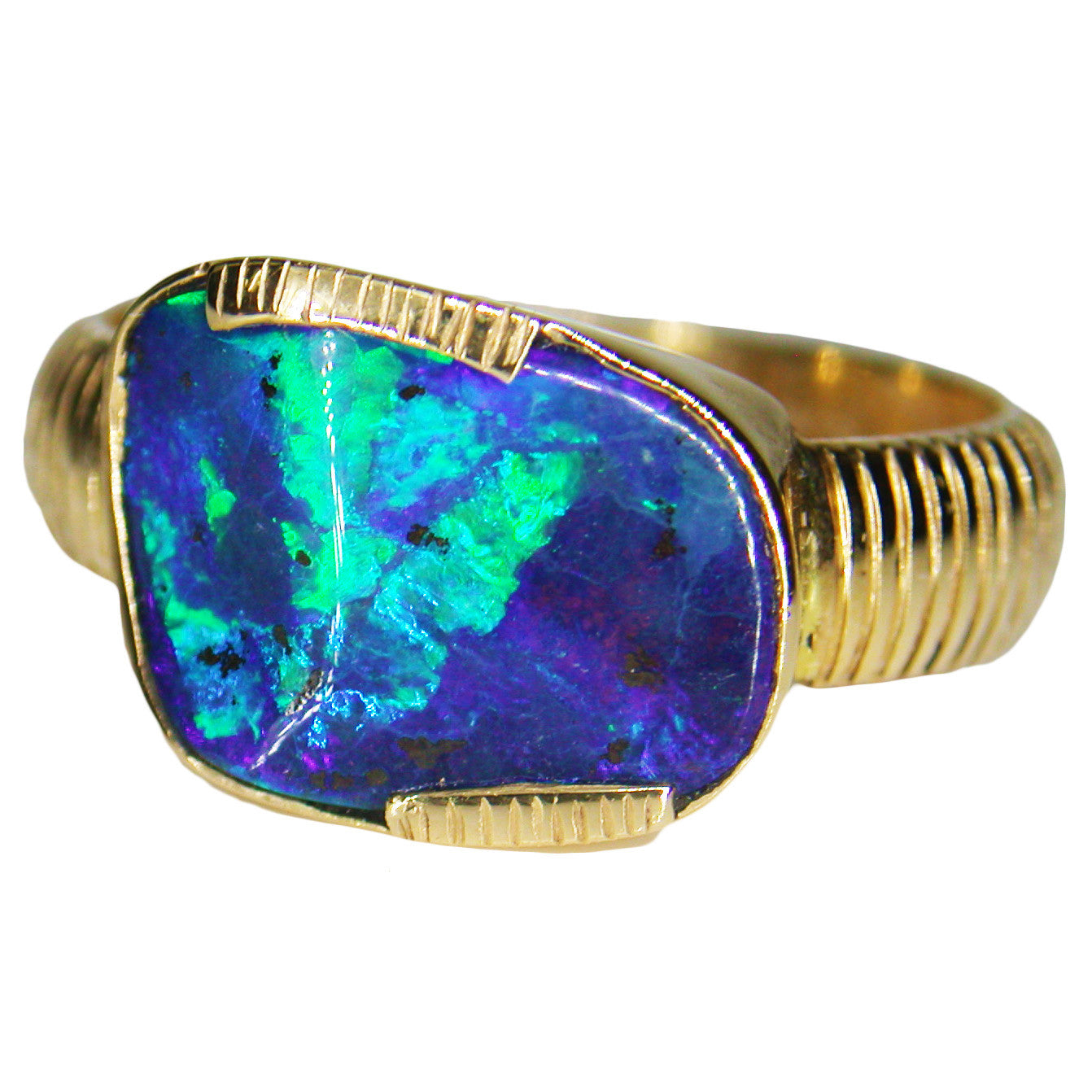 Blue Green 18k Opal Ring