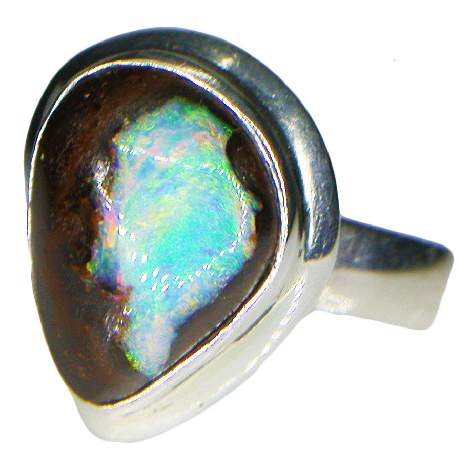 Green Multi Coloured Boulder Nut Sterling Silver Ring