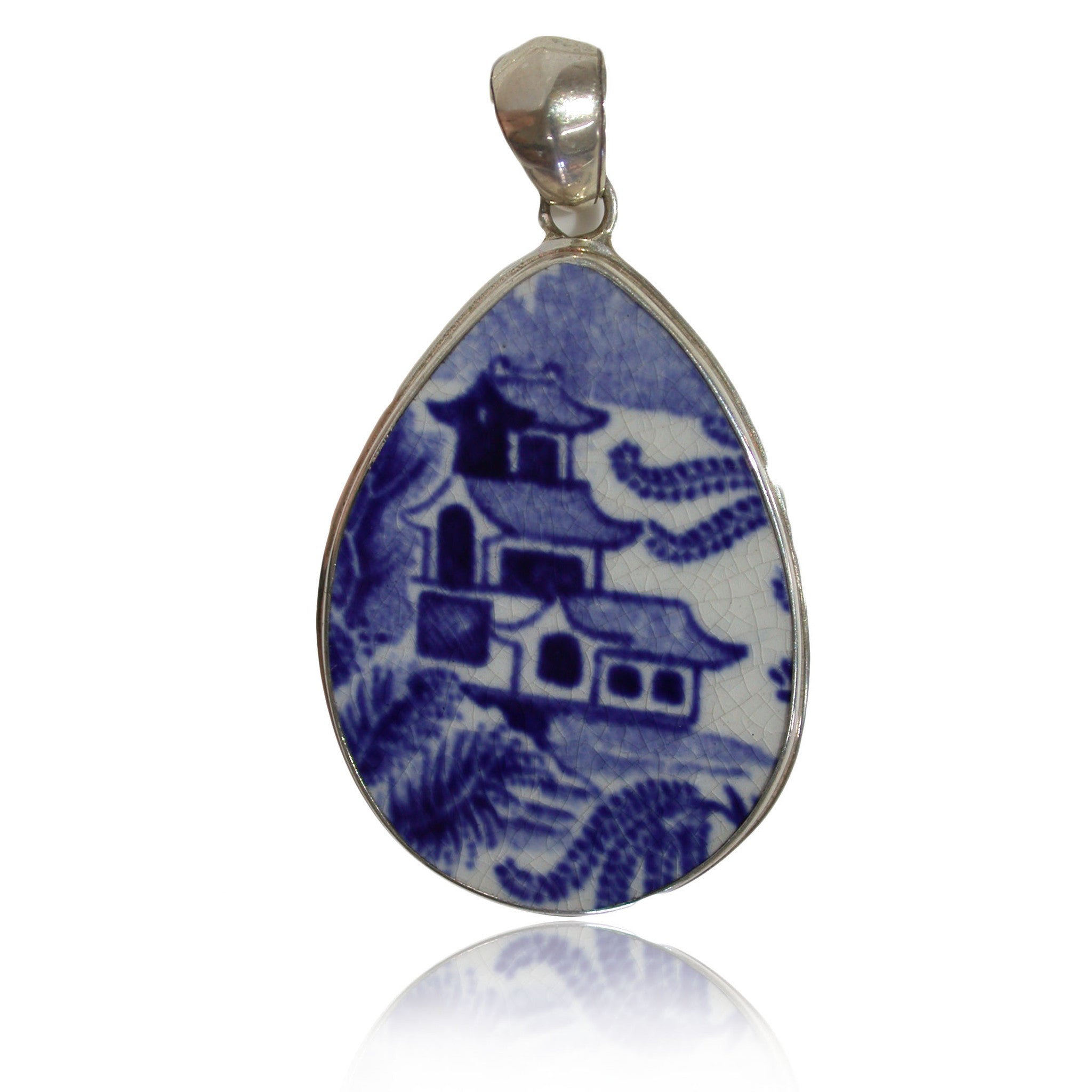 Ceramic Pendant Willow Pattern in Sterling Silver