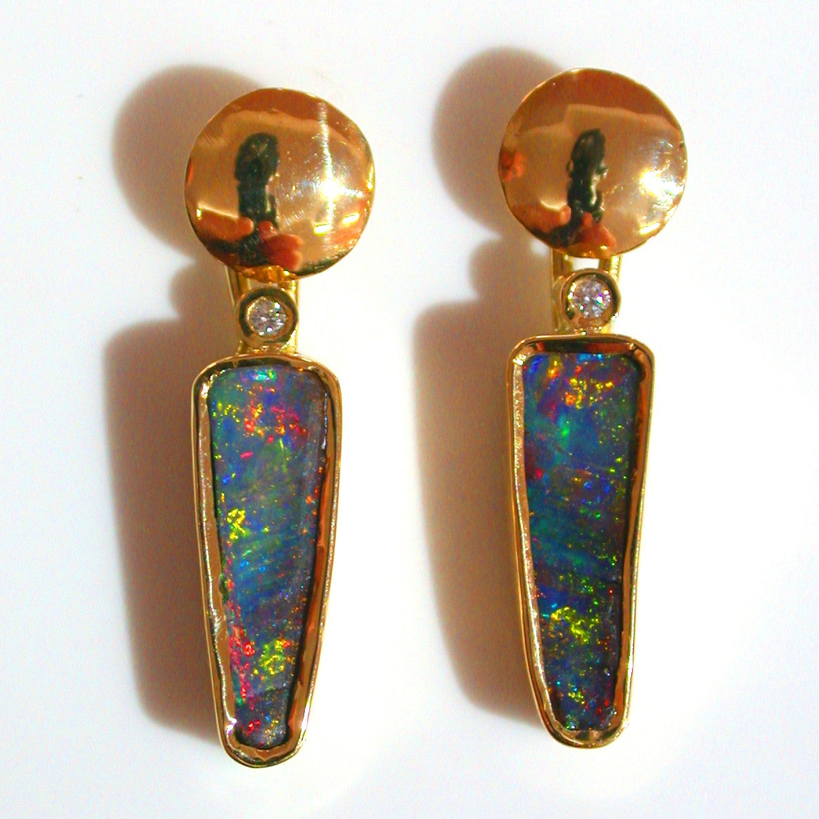Red, Orange multi coloured boulder opal from Quilpie 18k drop earrings