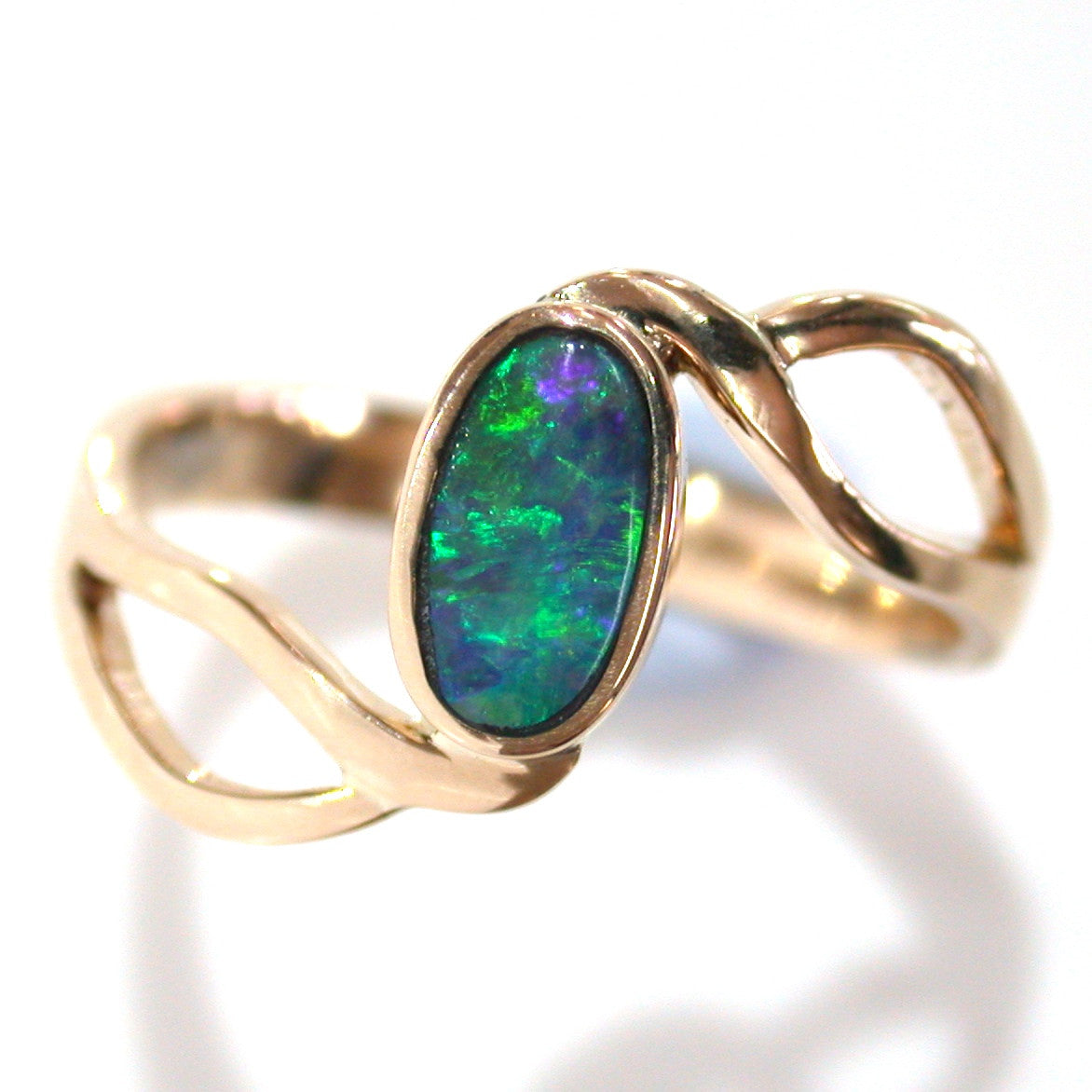 Green , green and blue solid boulder opal from Quilpie , 9k Ring