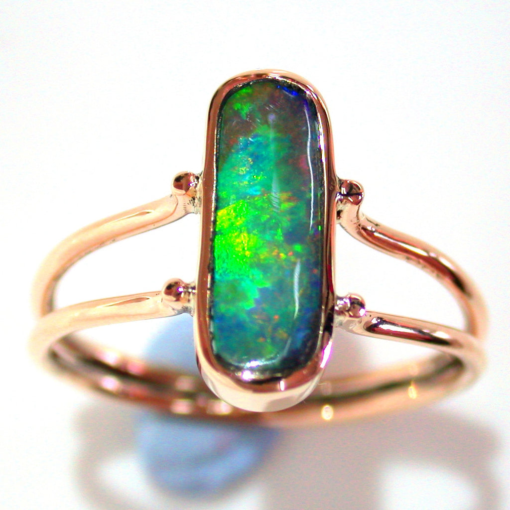 Green, orange and gold solid boulder opal from Quilpie , 9k Ring