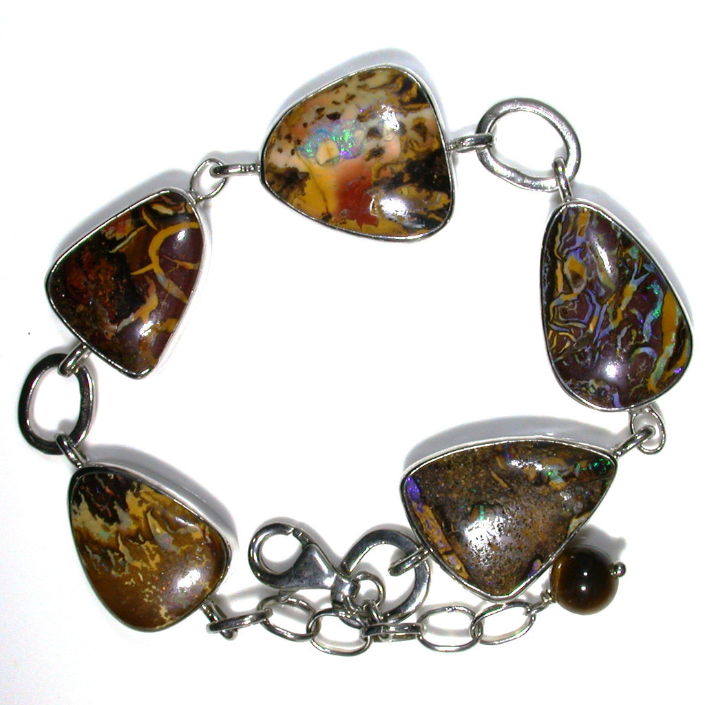 Solid Koroit matrix opal in Sterling silver Bracelet