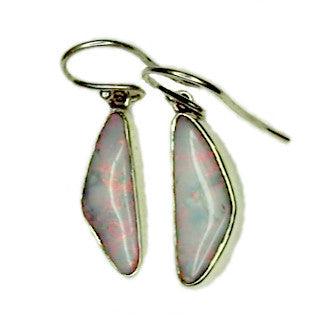 Pink and Green Sterling Silver Drop Earrings