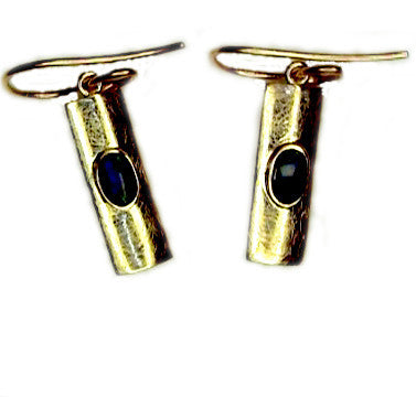Green Blue 9k Gold Drop Earrings