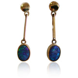 Green Blue Boulder Opal Drop Earrings