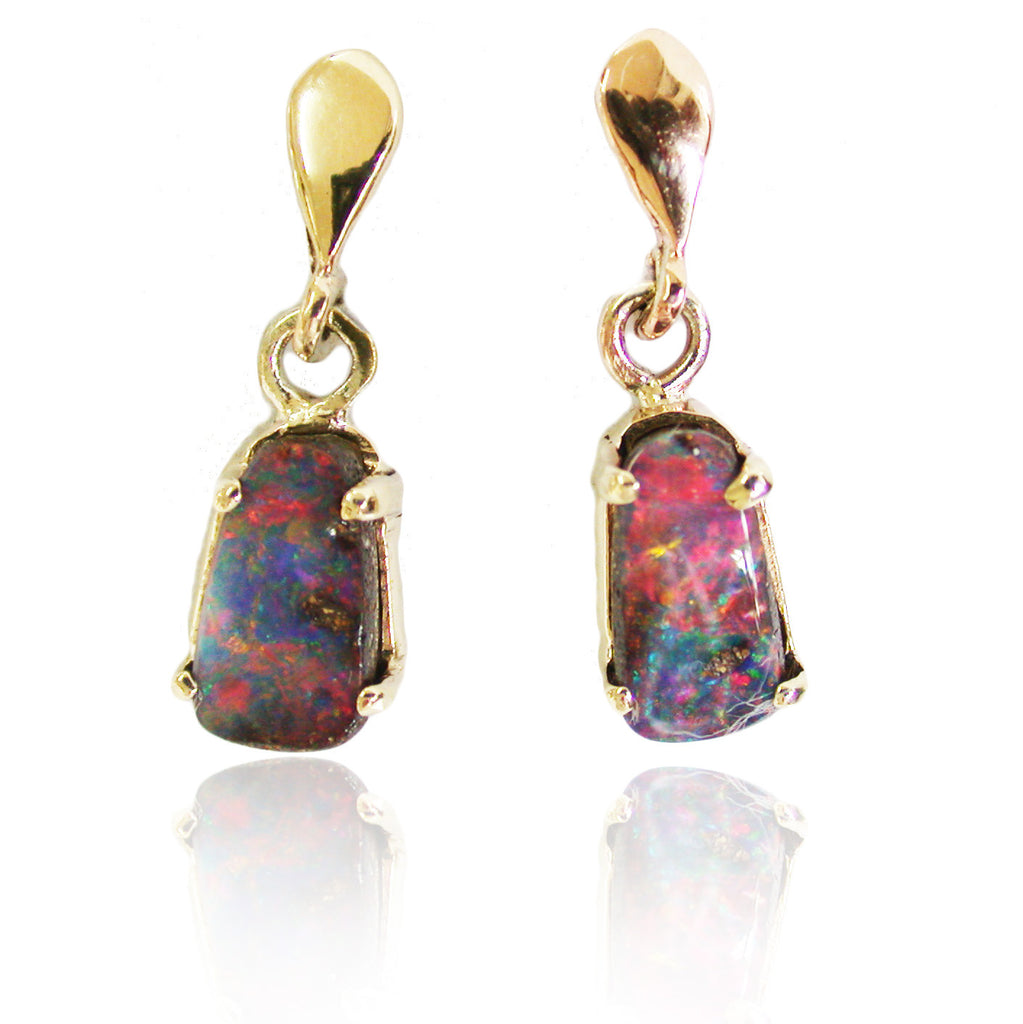 Red Multi Coloured Boulder Opal Drop Earrings
