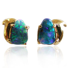 Bright Green Blue Opal Studs