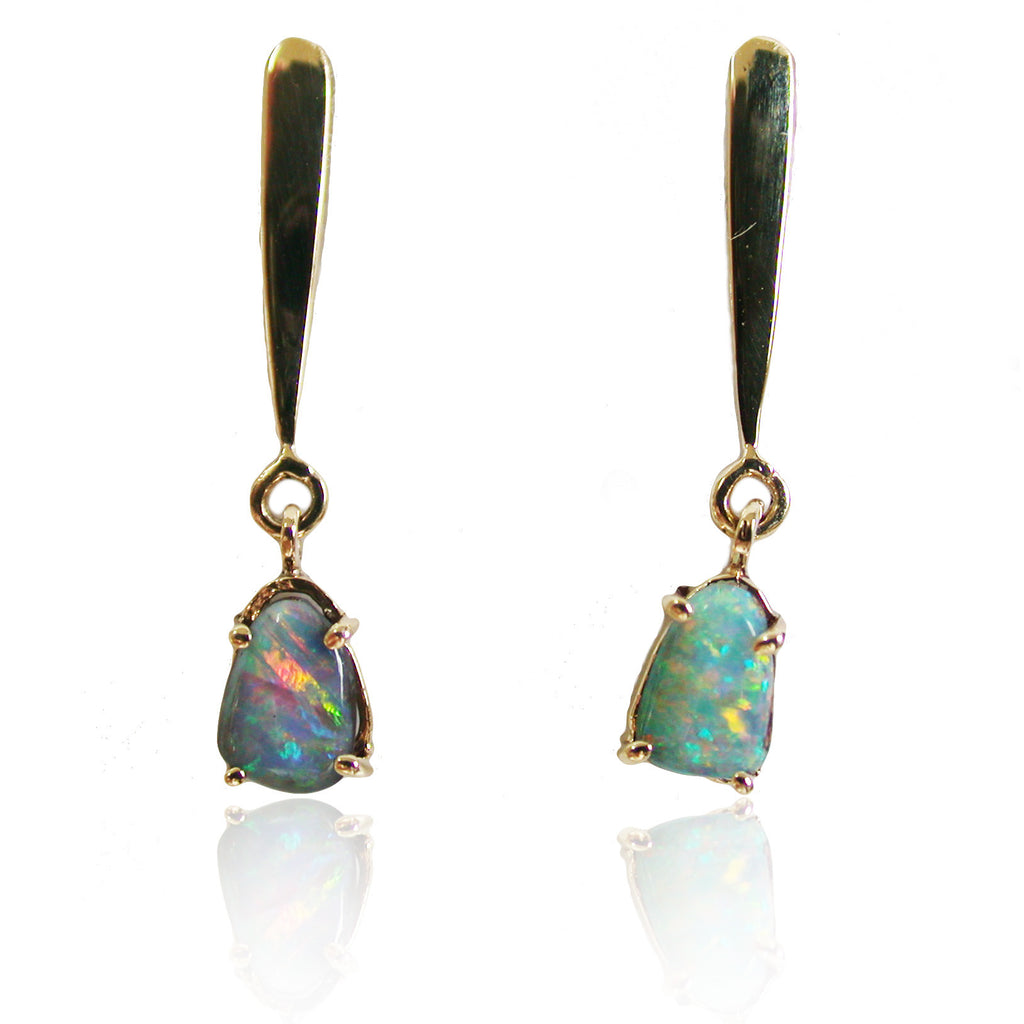 Pink Blue Boulder Opal Drop Earrings