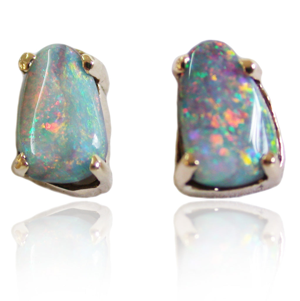 Pink Blue Opal Stud Earrings