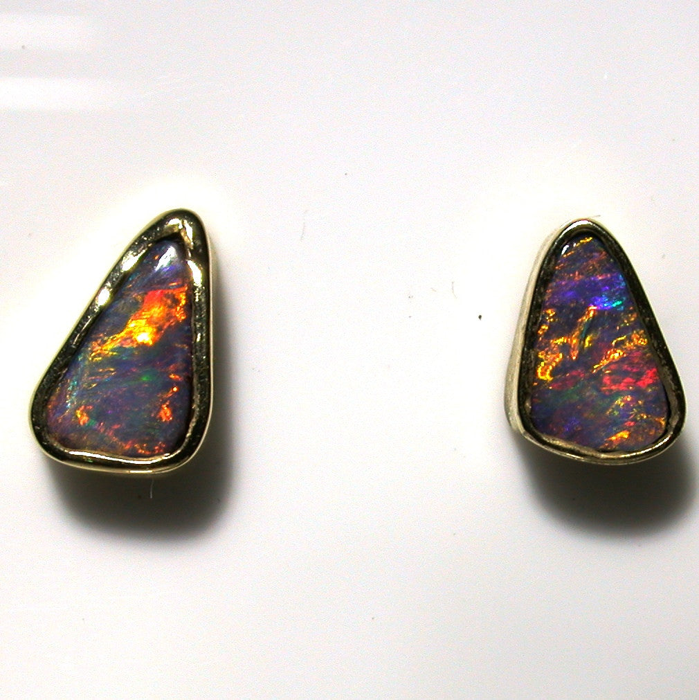 Orange multi coloured boulder opal from Quilpie 9k stud earrings
