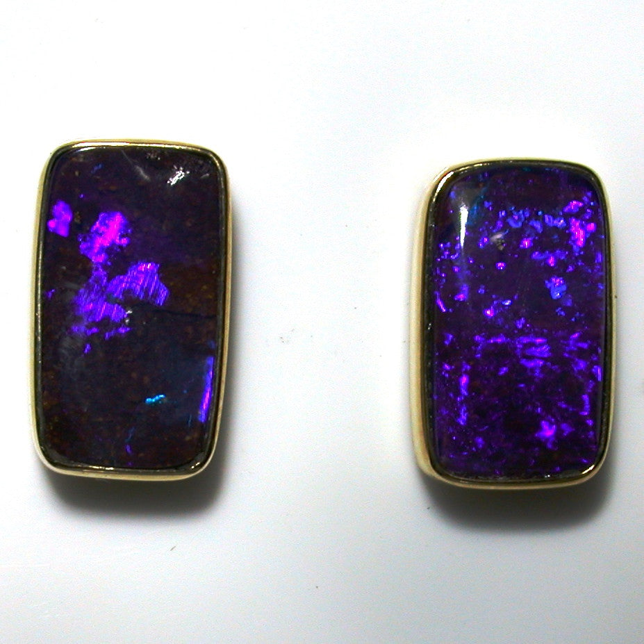 Violet, purple coloured solid boulder opals from Quilpie 9k stud earrings