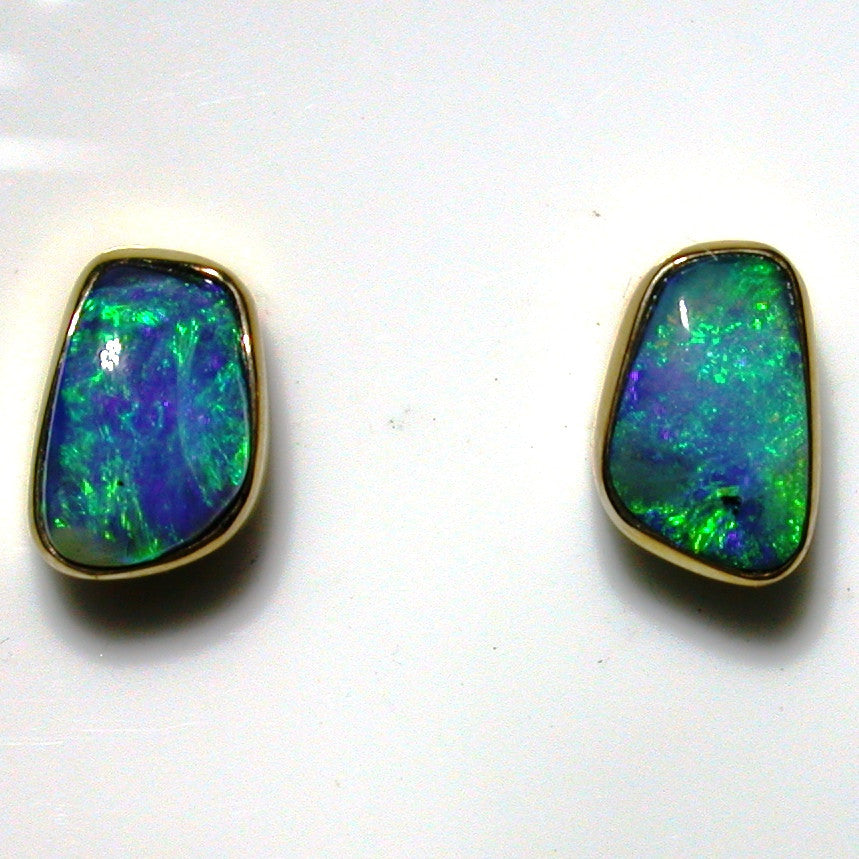 Very bright green, green coloured solid boulder opals from Quilpie 9k stud earrings