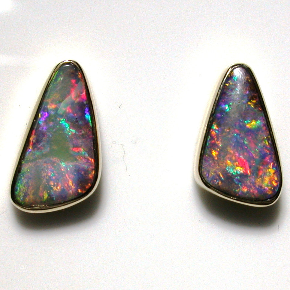 Pink multi coloured solid boulder opals from Quilpie 9k stud earrings