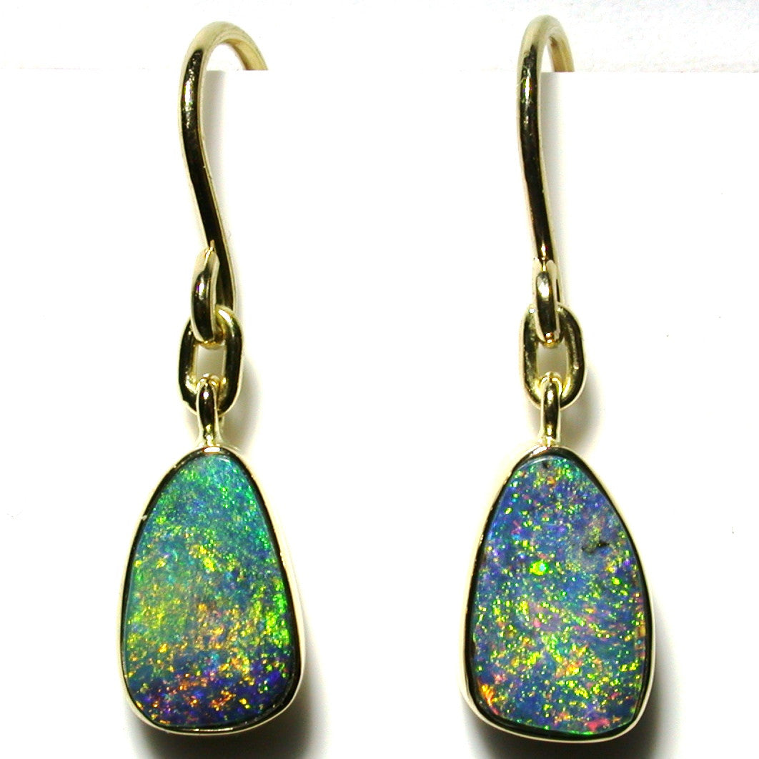 Green multi coloured boulder opal from Quilpie 18k drop earrings