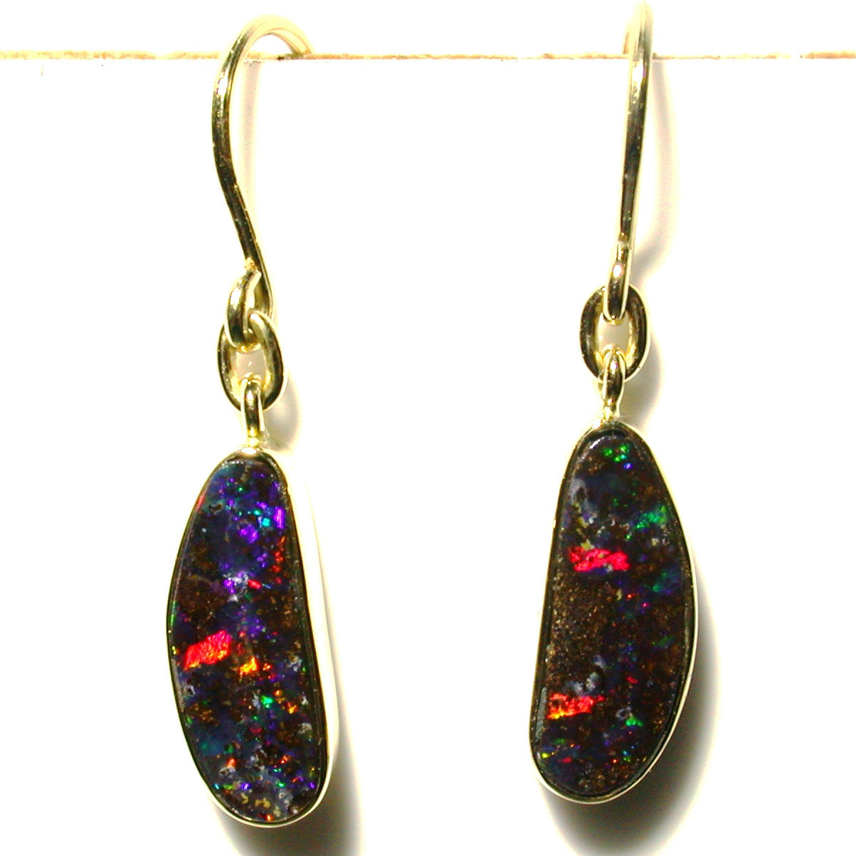 Red multi coloured boulder opal from Quilpie 18k drop earrings