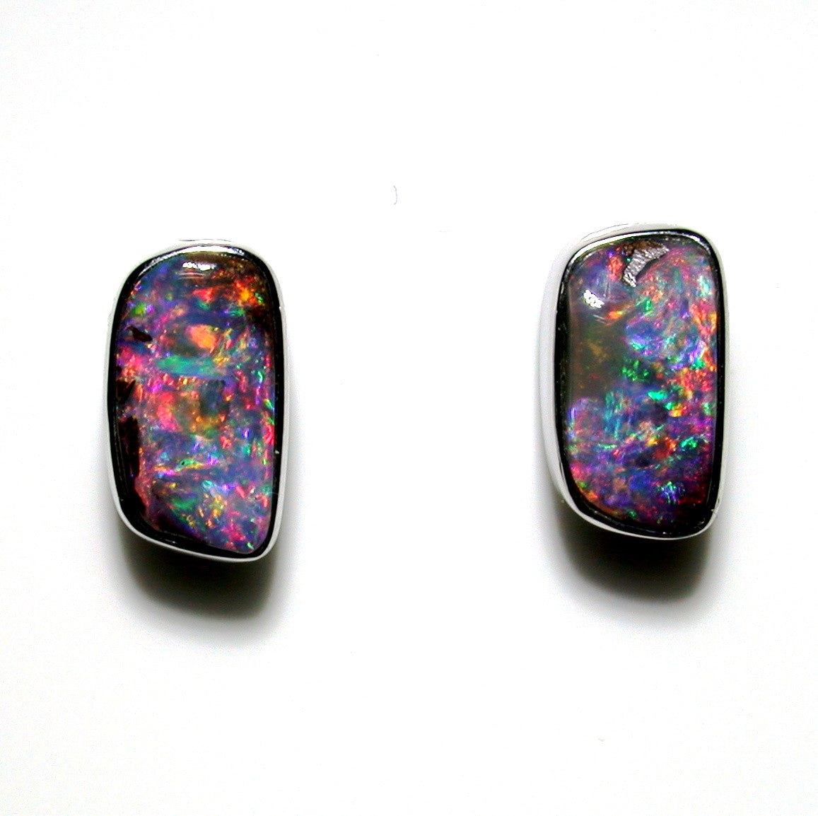 Hot Pink multi coloured solid boulder opal stud earrings