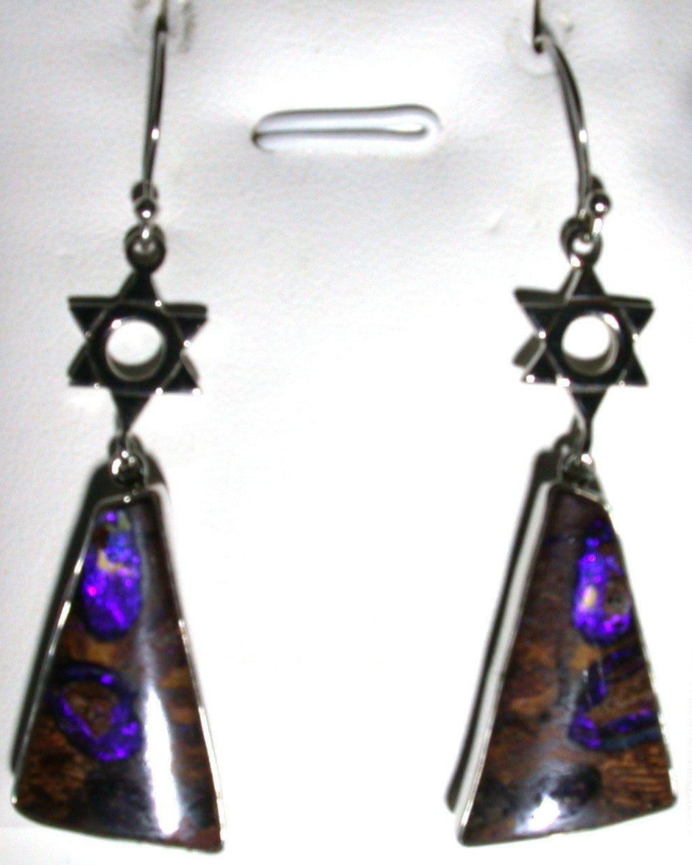 Violet wood pipes solid boulder opal drop earrings
