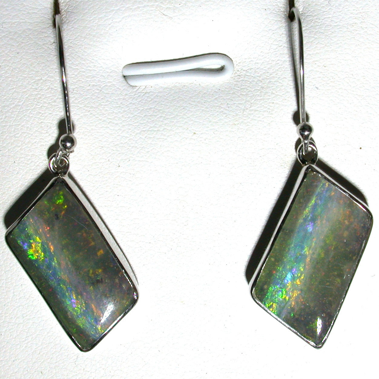 Green and Pink solid boulder opal drop earrings