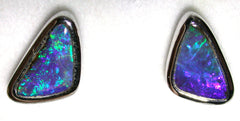 Green and Violet solid boulder opal stud earrings