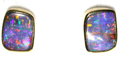 Orange and Red multi coloured solid boulder opal stud earrings