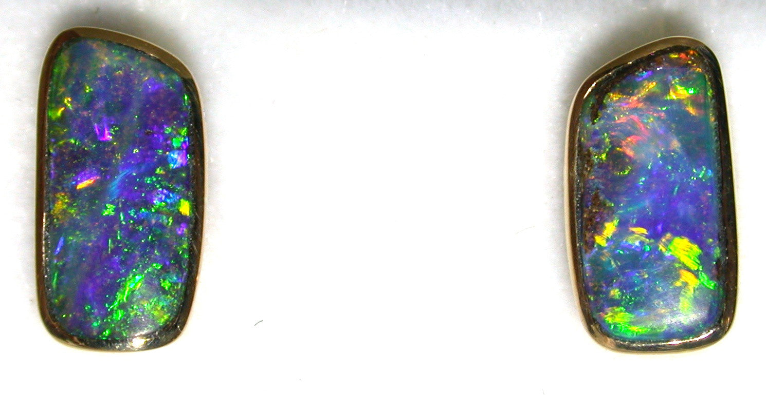 Green, Blue and Gold solid boulder opal stud earrings