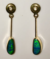 Green Blue solid boulder opal drop earrings