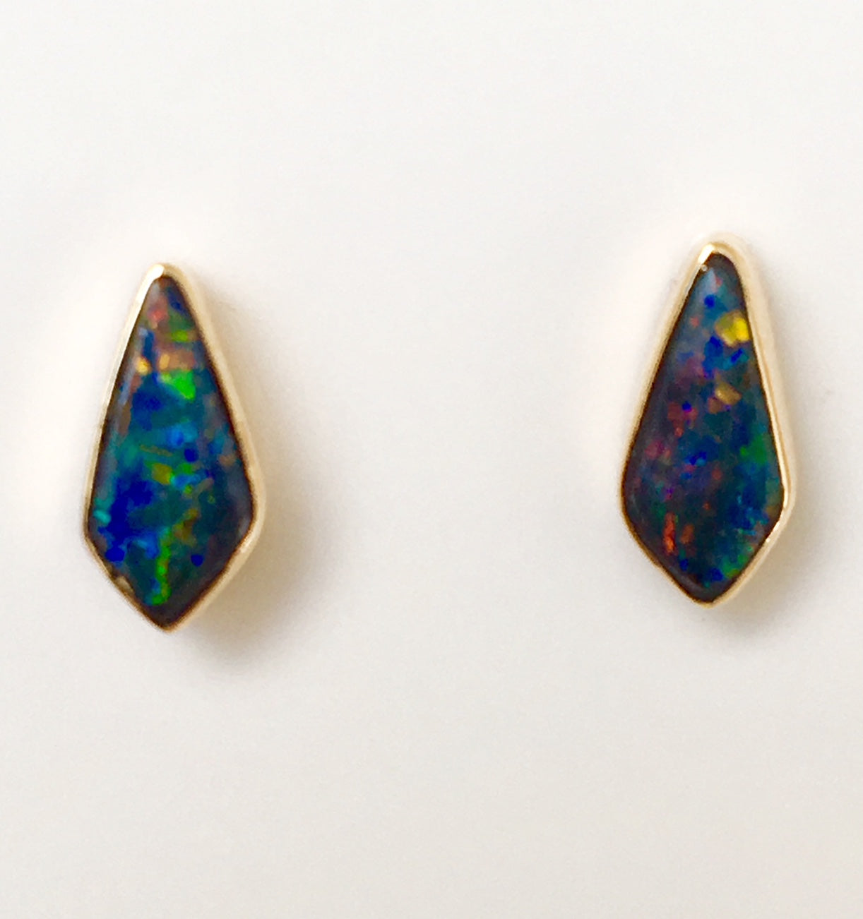 Multi coloured solid boulder opal stud earrings