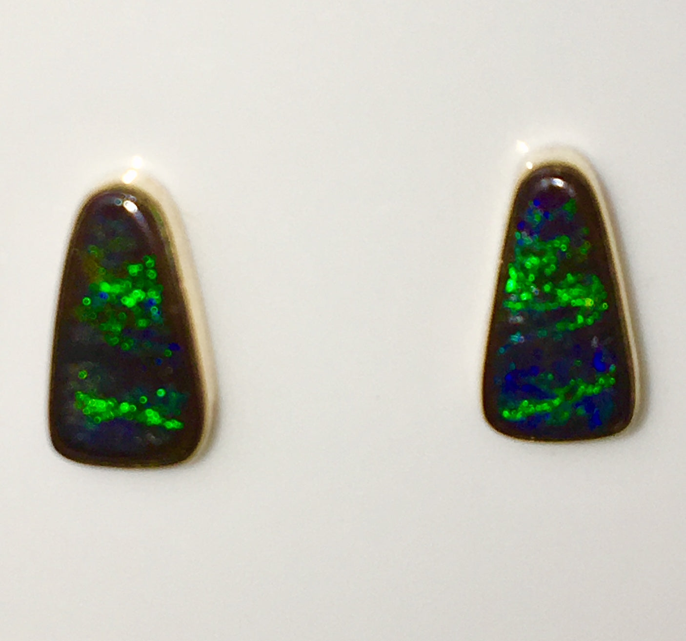 Green Blue solid boulder opal stud earrings