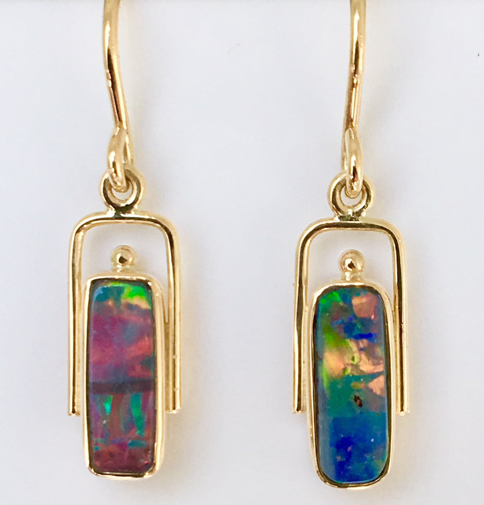 Red Multi Coloured solid boulder opal drop earrings